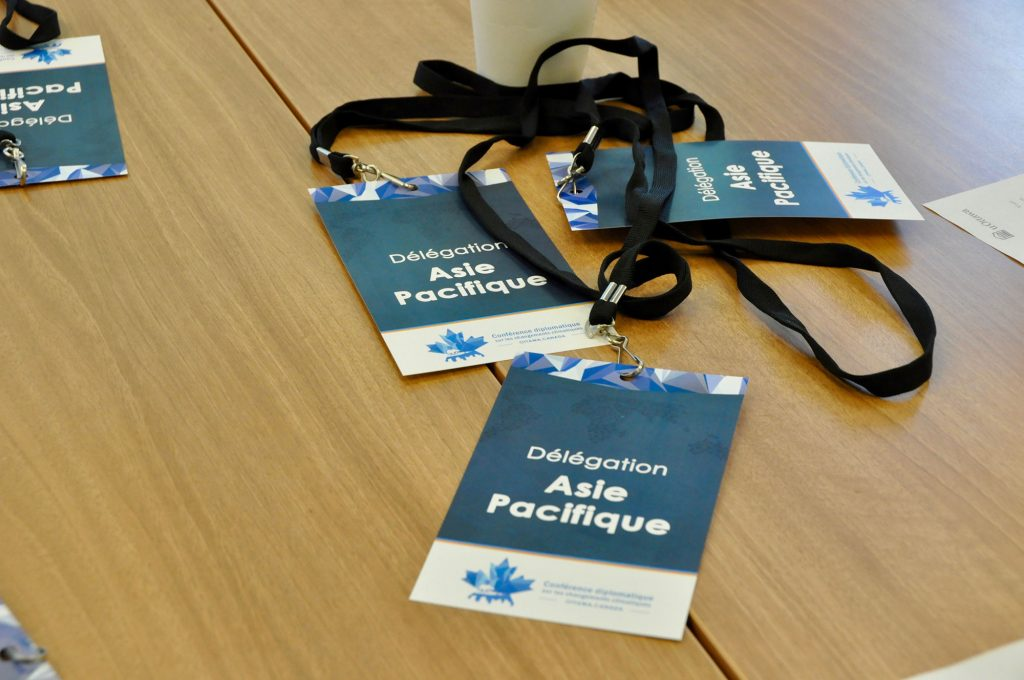 Photo des accréditations de la délégation Asie Pacifique.